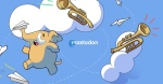 A mastodon leaps into the air holding a paper airplane in its trunk. He is surrounded by clouds and paper airplanes. The mastadon is the mascot of the decentralized social media platform Mastodon. This image links to Join Mastodon dot org